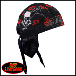 Headwrap,Hot Leathers,Skull & Roses - Headwrapit - HW163 - 1