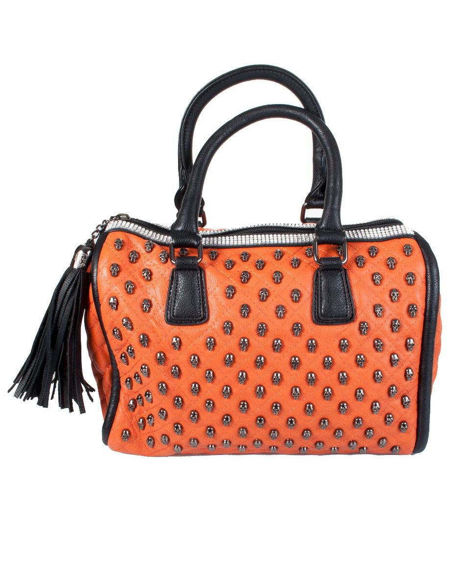 Oranssi Käsilaukku : K?silaukku kalloilla oranssi cm leatherheaven