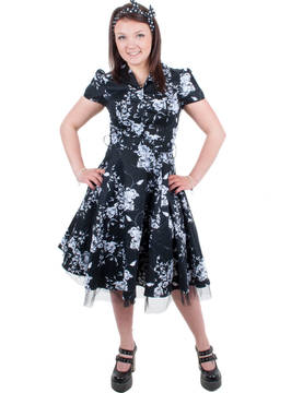 Mekko, B&W Floral long dress - Hameet ja mekot - HAM217 - 3